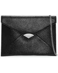 Michael Kors - Barbara Large Black Leather Envelope Clutch Bag - Lyst