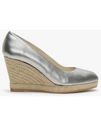 Carmen Saiz - Pewter Metallic Leather Woven Rope Wedge Shoes - Lyst