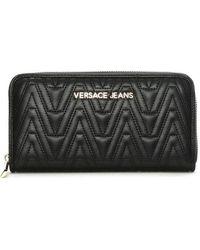 Versace Jeans - Ella Black Quilted Zip Around Wallet - Lyst