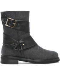 Cesare Paciotti - Grey Buckled Wool Biker Boots - Lyst