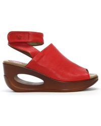 Fly London - Hini Scarlet Leather Wedge Sandals - Lyst