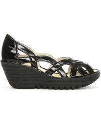 Fly London - Yadi Black Patent Cut Out Wedge Peep Toe Pump - Lyst