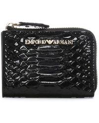 Emporio Armani - Frida Black Reptile Continental Wallet - Lyst