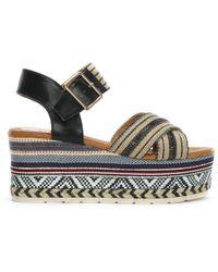 Moda In Pelle - Plazi Black Aztec Wedge Sandals - Lyst