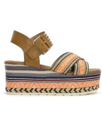 Moda In Pelle - Plazi Tan Aztec Wedge Sandals - Lyst