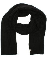 UGG - Cardi Black Textured Wool Scarf - Lyst