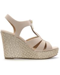 Michael Kors - Berkley Oyster Suede Wedge Sandals - Lyst