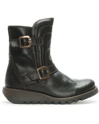Fly London - Sven Black Leather Low Wedge Buckled Ankle Boots - Lyst