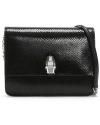 Class Roberto Cavalli - Milano Black Leather Reptile Box Clutch Bag - Lyst
