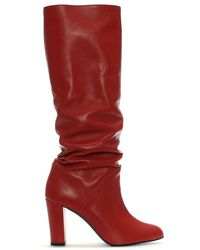 Daniel - Atube Red Leather Rouched Knee Boots - Lyst