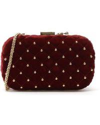 Class Roberto Cavalli | Elisabeth Burgundy Velvet Clutch Bag | Lyst