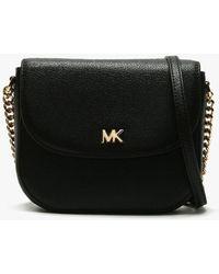 Michael Kors Half Dome Black Leather Cross-body Bag