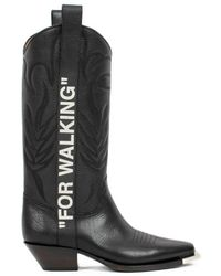 Off-White c/o Virgil Abloh - For Walking Embroidered Printed Textured-leather Knee Boots - Lyst