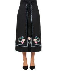 Vilshenko - Embroidered Wool Midi Skirt - Lyst