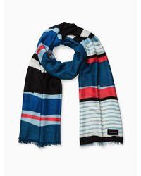 Calvin Klein - Painterly Colorblock Stripe Pashmina - Lyst