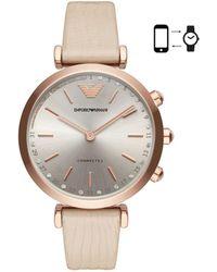Emporio Armani - Gianni T-bar Nude Hybrid Smartwatch - Lyst