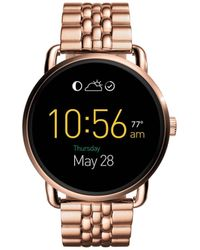 Fossil - Q Wander Touchscreen Rose Gold-tone Stainless Smartwatch - Lyst