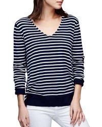 Gap - Cotton Stripe Essential V-neck Sweater - Lyst