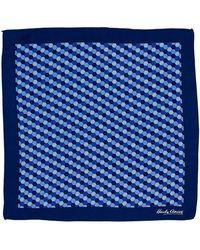 Hardy Amies - Navy Hexagon Geo Pocket Square - Lyst
