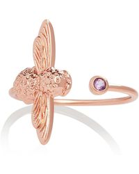 Olivia Burton - Bejewelled Bee Ring Rose Gold And Amethyst - Lyst