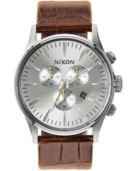 Nixon - Sentry Leather Watch - Lyst