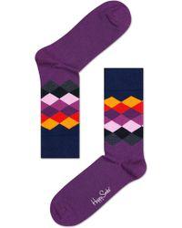 Happy Socks - Faded Diamond Socks - Lyst
