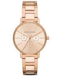 Armani Exchange - Lola Rose Gold Stainless Steel Bracelet Watch - Lyst