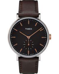 Timex - Ffield Sub 41mm Slv Brn Lthr - Lyst