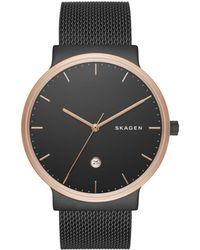 Skagen - Rose Goldtone Stainless Steel Sandblast Dial Mesh Bracelet Watch - Lyst