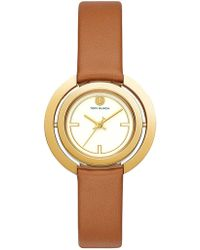 Tory Burch - Grier Reversible-dial Stainless Steel & Leather-strap Watch - Lyst
