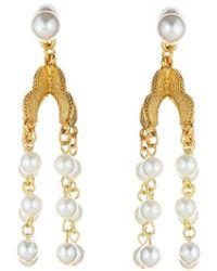 Oscar de la Renta - Pearl Tassel Earring - Lyst