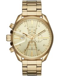 DIESEL - Chronograph Ms9 Chrono Gold-tone Stainless Steel Bracelet Watch 47mm - Lyst