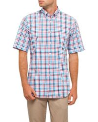 Paul & Shark - S/s Bd Washed Multi Check S/s Shirt - Lyst