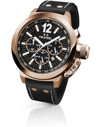TW Steel | Rose Gold Chronograph Black Leather Strap 50mm | Lyst