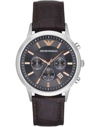 Emporio Armani - Renato Dark Brown Leather And Stainless Steel Watch - Lyst