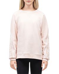 Calvin Klein - Cropped Long Sleeve Oversize Pullover W/ Logo Tape - Lyst