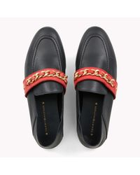 Tommy Hilfiger - Chain Detail Leather Loafers - Lyst