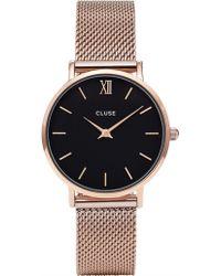Cluse - Minuit Mesh Rose Gold-black - Lyst
