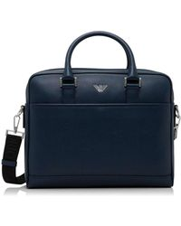 Emporio Armani - New Fast Stamped Leather Single Zip Briefcase - Lyst