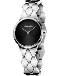 Calvin Klein - Snake Polished/brushed Ss Bracelet, Black Dial, 28mm - Lyst