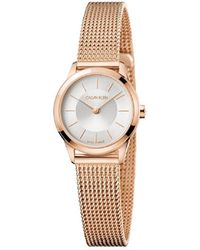 Calvin Klein - Ck Minimal Polished Rose Gold Pvd Case Silver Dial 24mm - Lyst
