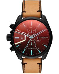 DIESEL - Chronograph Ms9 Chrono Brown Leather Strap Watch 47mm - Lyst