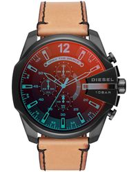 DIESEL - Watches S Mega Chief Black Ip And Brown Leather Watch - Lyst