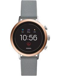 Fossil - Gen 4 Smartwatch - Q Venture Hr Grey Leather - Lyst