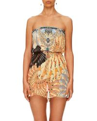02c56d6e0e3 Camilla - For The Fans Strapless Playsuit With Wrap Tie - Lyst
