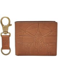 Fossil - Axel Large Coin Pocket Bifold And Keyfob - Lyst