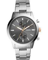 Fossil - 44mm Townsman Silver Watch - Lyst