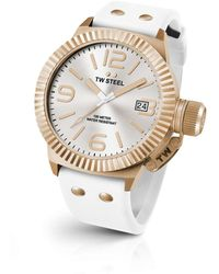 TW Steel | Canteen Rose 3 Hands White Dial White Silicon Strap | Lyst
