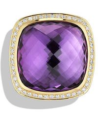 David Yurman - Albion® Ring With Amethyst And Diamonds In 18k Gold, 20mm - Lyst
