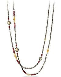 David Yurman - Bijoux Bead Necklace With Pyrite, Garnet And Citrine In 18k Gold - Lyst
